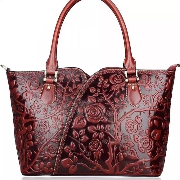 e18bc2f244ead Pijushi Leather Handbag Purse Red Bumblebee NWT